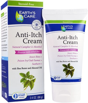 Anti-Itch Cream, with Shea Butter and Almond Oil, 2.4 oz (68 g) by Earths Care, 洗澡,美容,乳木果油,抗疼痛 HK 香港