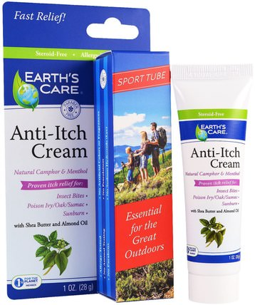 Anti-Itch Cream, with Shea Butter and Almond Oil, Sport Tube, 1 oz (28 g) by Earths Care, 洗澡,美容,乳木果油,抗疼痛 HK 香港