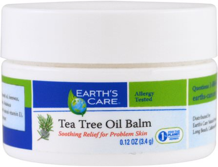 Tea Tree Oil Balm, 0.12 oz (3.4) by Earths Care, 健康,皮膚,茶樹 HK 香港