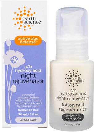 Active Age Defense, A/B Hydroxy Acid Night Rejuvenator, 1 fl oz (30 ml) by Earth Science, 健康,女性,α硫辛酸乳膏,乳霜,乳液 HK 香港