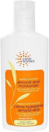 Almond-Aloe Moisturizer, Lightly Scented, 5 fl oz (150 ml) by Earth Science, 美容,面部護理,面霜乳液,精華素,透明質酸皮膚 HK 香港