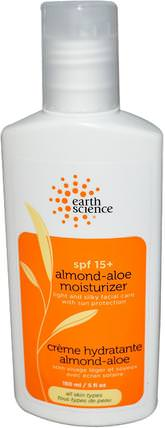 Almond-Aloe Moisturizer, SPF 15+, 5 fl oz (150 ml) by Earth Science, 美容,面部護理,面霜,乳液,皮膚 HK 香港