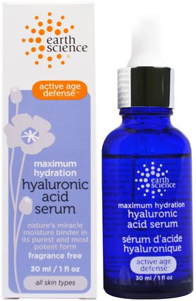Maximum Hydration, Hyaluronic Acid Serum, 1 fl oz (30 ml) by Earth Science, 美容,透明質酸皮膚,面部護理,皮膚 HK 香港
