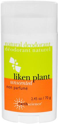 Natural Deodorant, Liken Plant, Unscented, 2.5 oz (70 g) by Earth Science, 洗澡,美容,除臭劑 HK 香港
