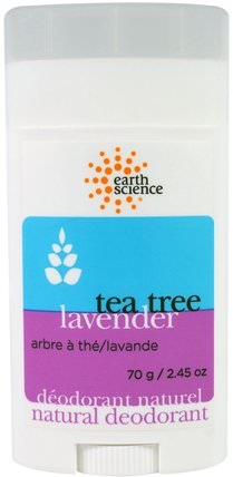 Natural Deodorant, Tea Tree, Lavender, 2.45 oz (70 g) by Earth Science, 洗澡,美容,除臭女性 HK 香港