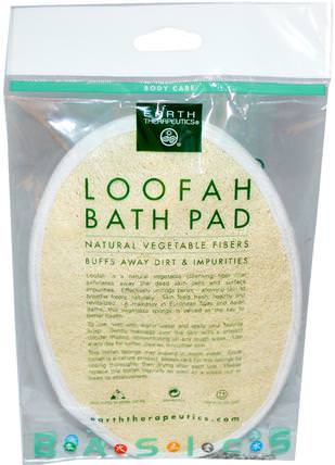 Loofah Bath Pad, 1 Pad by Earth Therapeutics, 洗澡,美容,沐浴海綿和刷子 HK 香港