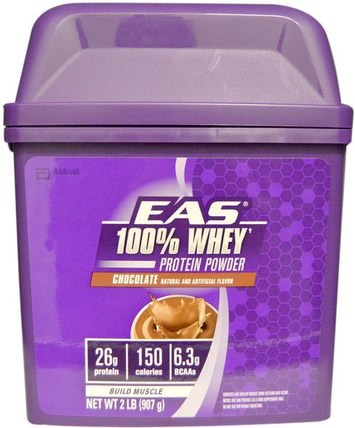 100% Whey Protein Protein, Chocolate, 2 lb (907 g) by EAS, 補充劑,乳清蛋白,運動 HK 香港