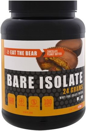 Eat the Bear, Bare Isolate, Whey Pure Protein Isolate, Chocolate Peanut Butter, 2 lbs (908 g) 運動,補品,乳清蛋白