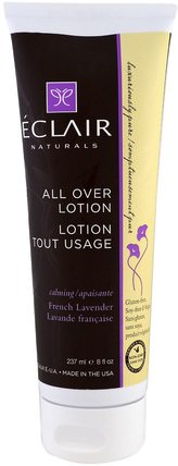 All Over Lotion, Calming, French Lavender, 8 fl oz (237 ml) by Eclair Naturals, 健康,皮膚,潤膚露 HK 香港