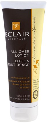 All Over Lotion, Enriching, Shea Butter & Oatmeal, 8 fl oz (237 ml) by Eclair Naturals, 健康,皮膚,潤膚露 HK 香港