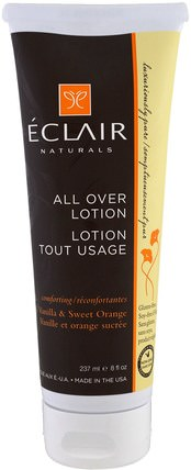All Over Lotion, Vanilla & Sweet Orange, 8 fl oz (237 ml) by Eclair Naturals, 健康,皮膚,潤膚露 HK 香港