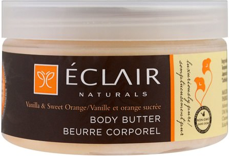 Body Butter, Vanilla & Sweet Orange, 4 oz (113 g) by Eclair Naturals, 健康,皮膚 HK 香港
