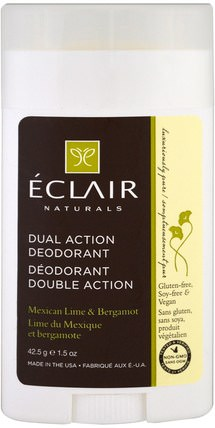 Dual Action Deodorant, Mexican Lime & Bergamot, 1.5 oz (42.5 g) by Eclair Naturals, 洗澡,美容,除臭劑 HK 香港