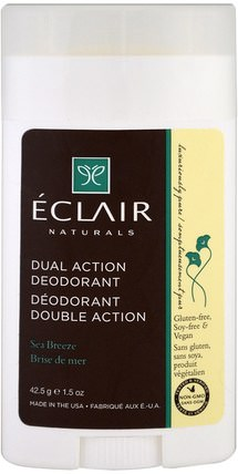 Dual Action Deodorant, Sea Breeze, 1.5 oz (42.5 g) by Eclair Naturals, 洗澡,美容,除臭劑 HK 香港