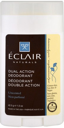 Dual Action Deodorant, Unscented, 1.5 oz (42.5 g) by Eclair Naturals, 洗澡,美容,除臭劑 HK 香港