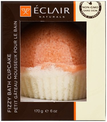 Fizzy Bath Cupcake, Grapefruit Orange, 6 oz (170 g) by Eclair Naturals, 洗澡,美容,浴鹽 HK 香港