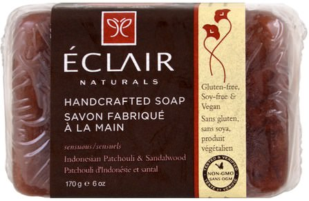 Handcrafted Soap, Indonesian Patchouli & Sandalwood, 6 oz (170 g) by Eclair Naturals, 洗澡,美容,肥皂 HK 香港