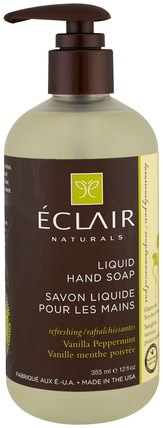 Liquid Hand Soap, Vanilla Peppermint, 12 fl oz (355 ml) by Eclair Naturals, 洗澡,美容,肥皂 HK 香港