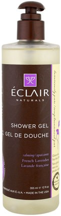 Shower Gel, Calming, French Lavender, 12 fl oz (355 ml) by Eclair Naturals, 洗澡,美容,沐浴露 HK 香港
