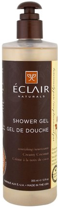 Shower Gel, Creamy Coconut, 12 fl oz (355 ml) by Eclair Naturals, 洗澡,美容,沐浴露 HK 香港