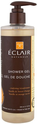 Shower Gel, Vanilla & Sweet Orange, 12 fl oz (355 ml) by Eclair Naturals, 洗澡,美容,沐浴露 HK 香港