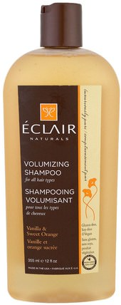Volumizing Shampoo, Vanilla & Sweet Orange, 12 fl oz (355 ml) by Eclair Naturals, 洗澡,美容,洗髮水 HK 香港