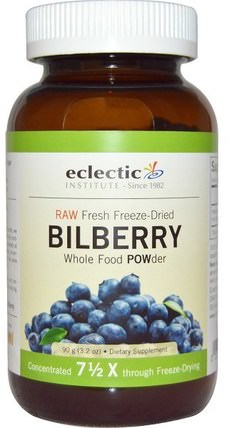 Bilberry, Whole Food Powder, 3.2 oz (90 g) by Eclectic Institute, 健康,眼部護理,視力保健,越橘 HK 香港