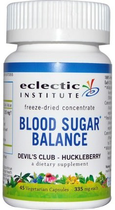 Blood Sugar Balance, Devils Club - Huckleberry, 335 mg, 45 Vegetarian Capsules by Eclectic Institute, 健康,血糖,胭脂仙人掌(仙人掌仙人掌) HK 香港