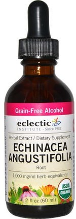 Echinacea Angustifolia Root, Grain-Free Alcohol, 2 fl oz (60 ml) by Eclectic Institute, 補充劑,抗生素,紫錐花 HK 香港