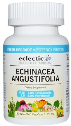 Echinacea Angustifolia, 325 mg, 90 Non-GMO Veggie Caps by Eclectic Institute, 補充劑,抗生素,紫錐花 HK 香港