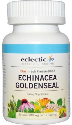 Raw, Echinacea Goldenseal, 350 mg, 90 Non-GMO Veggie Caps by Eclectic Institute, 補充劑,抗生素,紫錐花和黃金 HK 香港