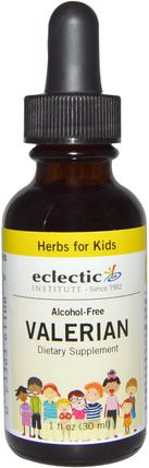 Herbs For Kids, Valerian, Alcohol-Free, 1 fl oz (30 ml) by Eclectic Institute, 草藥,纈草,兒童草藥 HK 香港
