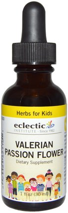 Herbs for Kids, Valerian Passion Flower, 1 fl oz (30 ml) by Eclectic Institute, 草藥,纈草,兒童草藥 HK 香港