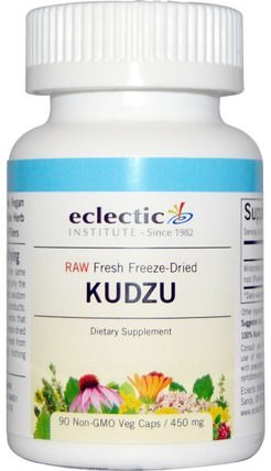 Kudzu, 450 mg, 90 Non-GMO Veggie Caps by Eclectic Institute, 草藥,葛根,藥物濫用,成癮 HK 香港