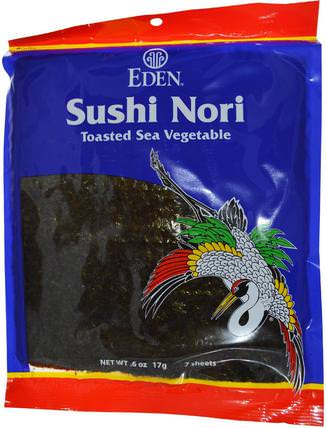 Sushi Nori, 7 Sheets.6 oz 17 g by Eden Foods, 補充劑,藻類各種各樣 HK 香港