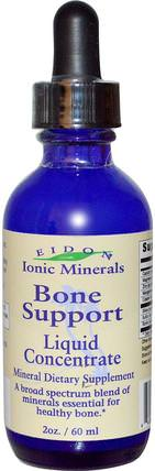 Ionic Minerals, Bone Support, Liquid Concentrate, 2 oz (60 ml) by Eidon Mineral Supplements, 補品,礦物質,骨骼,骨質疏鬆症 HK 香港