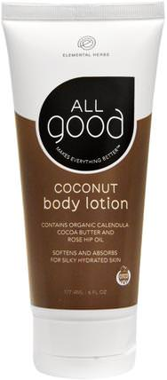 All Good, Coconut Body Lotion, 6 fl oz (177.4 ml) by All Good Products, 洗澡,美容,潤膚露 HK 香港
