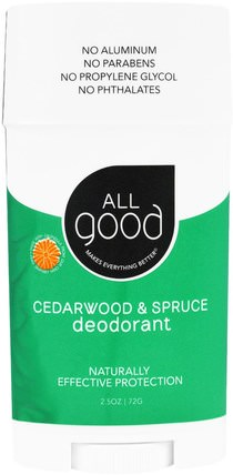 All Good, Deodorant, Cedarwood & Spruce, 2.5 oz (72 g) by All Good Products, 洗澡,美容,除臭劑 HK 香港