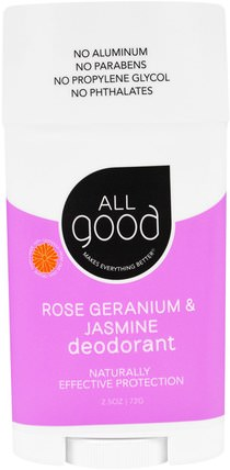 All Good, Deodorant, Rose Geranium & Jasmine, 2.5 oz (72 g) by All Good Products, 洗澡,美容,除臭劑 HK 香港