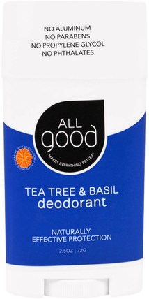All Good, Deodorant, Tea Tree & Basil, 2.5 oz (72 g) by All Good Products, 洗澡,美容,除臭劑 HK 香港