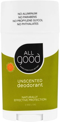 All Good, Deodorant, Unscented, 2.5 oz (72 g) by All Good Products, 洗澡,美容,除臭劑 HK 香港