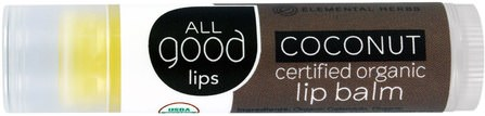 All Good Lips, Certified Organic Lip Balm, Coconut, 4.25 g by All Good Products, 洗澡,美容,唇部護理,唇膏 HK 香港