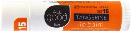All Good Lips, Lip Balm, SPF 12, Tangerine, 4.25 g by All Good Products, 洗澡,美容,唇部護理,唇膏 HK 香港