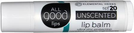 All Good Lips, Lip Balm, SPF 20, Unscented, 4.25 g by All Good Products, 洗澡,美容,唇部護理,唇膏 HK 香港