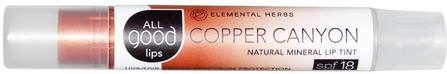 All Good Lips, Natural Mineral Lip Tint, SPF 18, Copper Canyon, 2.55 g by All Good Products, 洗澡,美容,口紅,光澤,襯墊,唇部護理 HK 香港