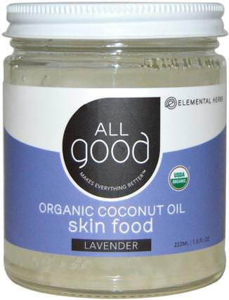 All Good, Organic Coconut Oil, Skin Food, Lavender, 7.5 fl oz (222 ml) by All Good Products, 沐浴,美容,椰子油皮 HK 香港