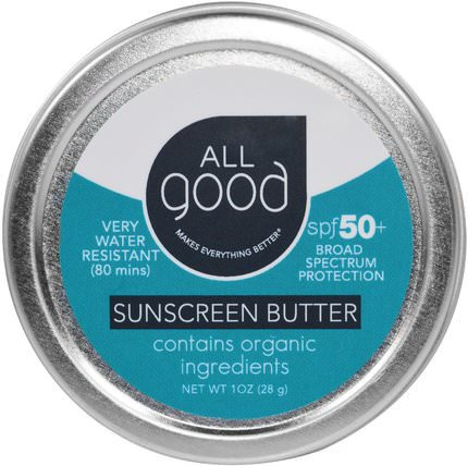 All Good, Sunscreen Butter, SPF 50, 1 oz (28 g) by All Good Products, 浴,美容,防曬霜,spf 50-75 HK 香港