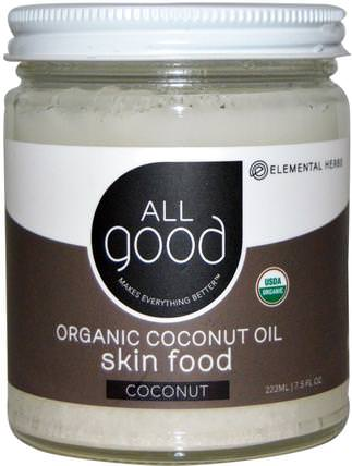Organic Coconut Oil, Skin Food, Coconut, 7.5 fl oz (222 ml) by All Good Products, 沐浴,美容,椰子油皮 HK 香港