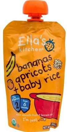 Bananas, Apricots + Baby Rice, Stage 2, 3.5 oz (99 g) by Ellas Kitchen, 兒童健康,兒童食品,嬰兒餵養,食物 HK 香港