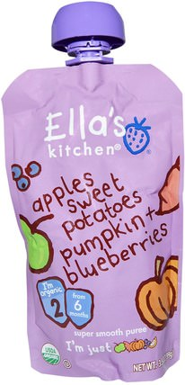 Organic Super Smooth Puree, Apples, Sweet Potatoes, Pumpkin + Blueberries, 3.5 oz (99 g) by Ellas Kitchen, 兒童健康,兒童食品,嬰兒餵養,食物 HK 香港